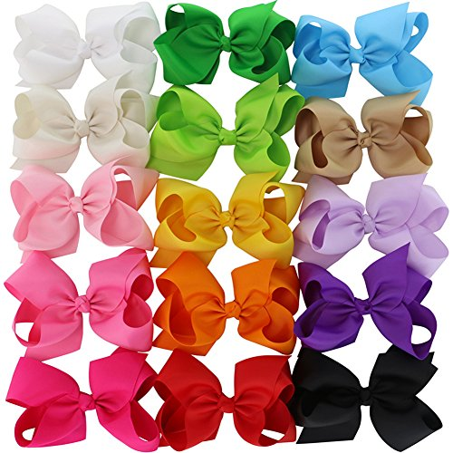 Chiffon 15 Colors 6in Large Big Grosgrain Ribbon Baby Hair Bows WITH Alligator Clips Boutique Bow For Girls Toddlers Teens -