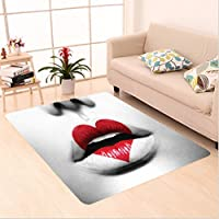 Nalahome Custom carpet d and Black Fashion Model Vivid Woman Lips in Love Symbol Heart Photo Image White and Light Grey area rugs for Living Dining Room Bedroom Hallway Office Carpet (4 X 6)