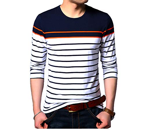 EYEBOGLER Regular Fit Men's Cotton T-Shirt (T50) Navy Blue-Orange