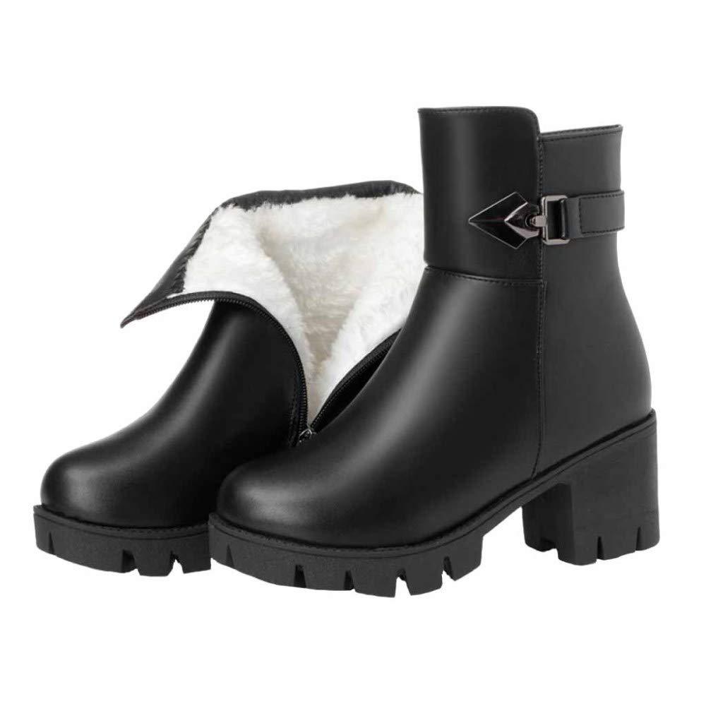 Damen Damen Martin Stiefel Winter Plüsch Warme Hochhackige Stiefel Mode Baumwolle Stiefel