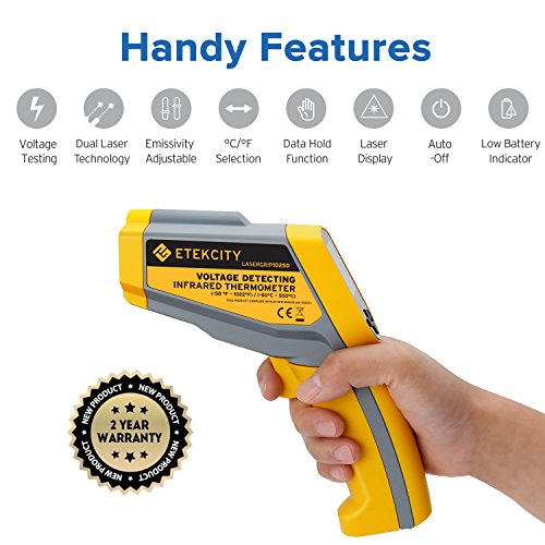 Etekcity Lasergrip1030D Infrared Thermometer Digital Dual Laser Temperature Gun Non-contact with Temperature Filtering -58℉~1022℉ (-50℃ ~ 550℃) by Etekcity (Image #6)