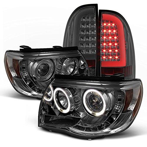 05 06 07 08 09 10 11 Toyota Tacoma Halo Projector Headlights w/ LED Tail Lights Set - Smoke