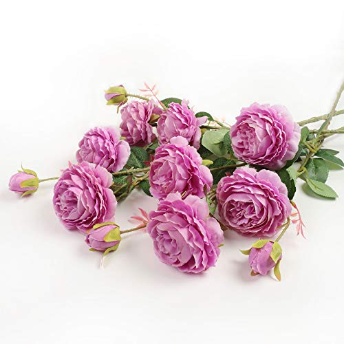 (Faux English Cabbage Rose 4 Branch 12 Stems Bundle Mixed Blooms & Buds Spays in Peach Pink, Artificial Silk Flowers & Fake Greenery, Indoor Outdoor Wedding Home Decor (Cabbage Rose-Purple, 4 PCS))