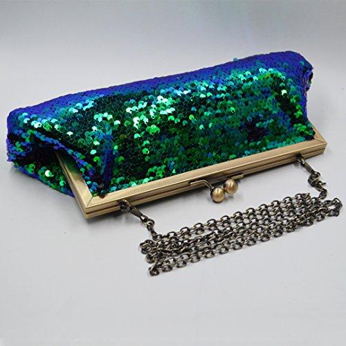 Blue Mermaid Bags Sequins Evening Meliya Prom Clutch Bridal Glitter Party Purse Wedding Dazzling Handbag gZUfSqwnf