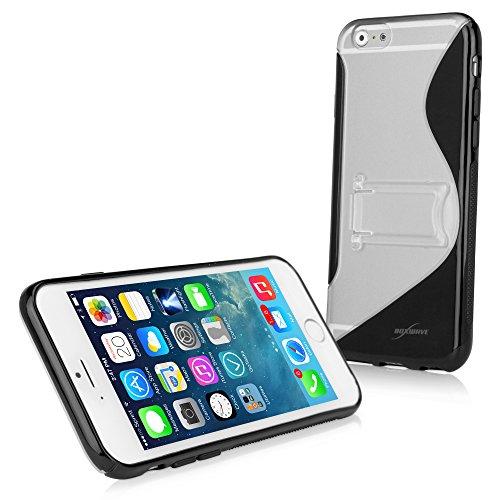 BoxWave Colorsplash Schutzhülle für Apple iPhone 6 Case/Schutzhülle mit Ständer, robust, TPU, mit Standfunktion, schlankes Design S-Design auf der Rückseite, für iPhone, 6-teilig, schwarz)