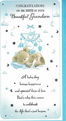New baby grandson card baby boy congratulations on the birth of new baby grandson card baby boy congratulations on the birth of your grandson new baby card for the new grandparents amazon office products m4hsunfo