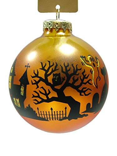 On Holiday New Glass Orange Halloween Nightscape Glass Bulb Autumn Trick or Treat Haunted House Ghost Ghoul Vampire Zombie Witch Christmas Tree