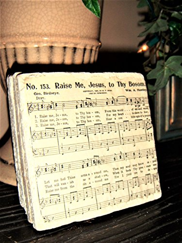 Hymns Sets Piano (Vintage church hymnal sheet music, religious gifts, for women, Christian, stone coasters)