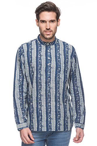 Shatranj Men's Indian Short Kurta Tunic Banded Collar Printed Shirt; Blue; LG by Shatranj