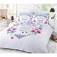 French Paris Duvet Cover ? Shabby Chic floral Butterfly Pink Teal Blue Bed Set Multi ( Pink Teal Blue White ) Double Duvet Cover ( Vintage )