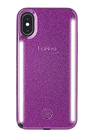 Lu Mee Duo Phone Case | Front & Back Led Lighting, Variable Dimmer | Shock Absorption, Bumper Case, Selfie Phone Case | I Phone X/I Phone Xs (Dark Purple Glitter) by Lu Mee
