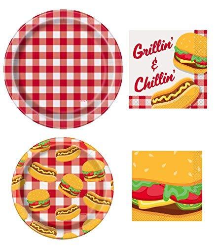 (Unique Burger BBQ Picnic Party Supplies Bundle | Paper Plates and)