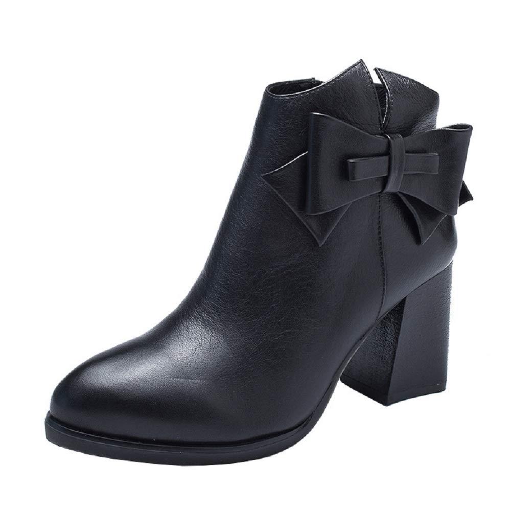 ZHRUI Damen Elegante Leder Block Zipper Vintage Stiefel (Farbe   Schwarz, Größe   EU 36)
