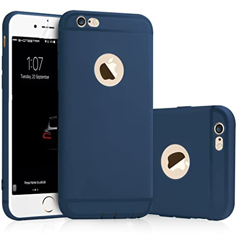 premium selection 0c440 75f34 SHINESTAR Soft Silicone With Anti Dust Plugs Ultra thin Slim Back Cover  Case For Apple iPhone 6/6S - Blue