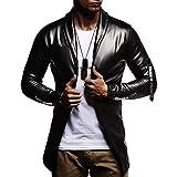 FarJing Mens Coat Jacket Clearance Sale Men Luxury Gold Autumn Casual Hip Hop Long Sleeve Leather Coat Jacket Top(3XL,Black