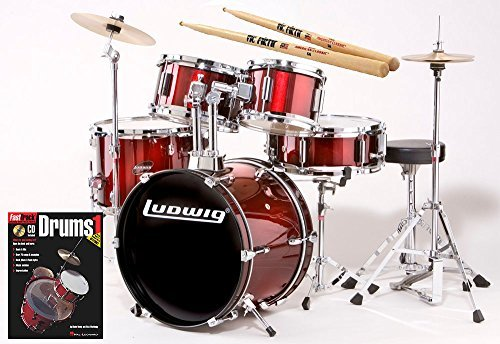 Ludwig Junior Wine Red Drum Set Bundle with Vic Firth American Classic 5A Drumsticks and FastTrack Drum Method (Book 1)