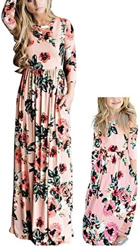 Qin.Orianna Mommy and Me Maxi Dresses,3 4 Sleeve Bohemia Rose Floral Matching Outfits with Pocket
