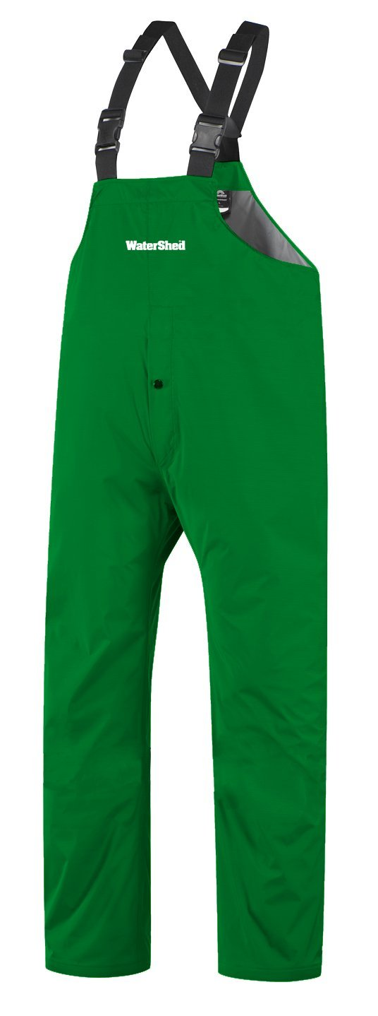 WaterShed 950041-TGR-LGE StormShield Double Knee Waterproof GORE-TEX Bib Overall with Snap Fly and Ankle Snaps, Large, Forest Green by Watershed
