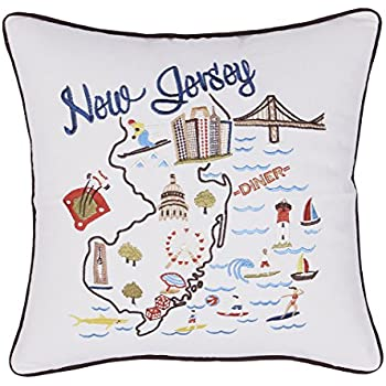 EURASIA DECOR DecorHouzz Pillow Covers State/City Map Pillowcase Embroidered Cushion Cover Birthday Gift Graduation Gift New Home Gift 18