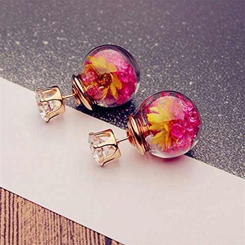 UNKE Personality Double - sided Glass Ball Drill Dry Flower Earrings Ear stud,Rose Red