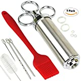 Home Servz Turkey Baster Syringe Kit,Stainless Steel Meat Injector, 3 Marinade Needles&2-oz Large Capacity Barrel, 5 Spare Silicone rings for With 2 Cleaning Brush, Red Silicone BBQ Brush