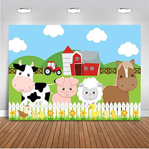 Mocsicka Farm Barnyard Birthday Backdrop 7x5ft Cartoon Red Barn Farm Animals Birthday for Boys and Girls Photography Background Green Grass Fence Barnyard Party Banner Photo Backdrops