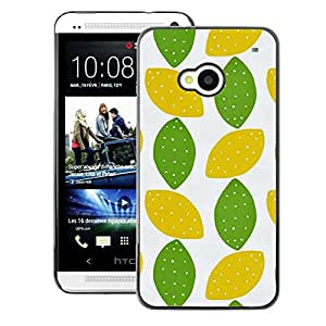 A-type Arte & diseño plástico duro Fundas Cover Cubre Hard Case Cover para HTC One M7 (Lime Polka Dot Art Leaves Pattern)