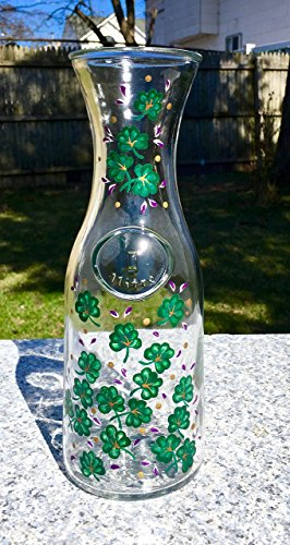 Hand Painted Carafe (Carafe With Hand Painted Shamrocks and purple Flowers 1 Liter)