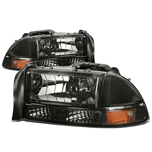 (For Dodge Dakota/Durango 4pcs Smoked Lens Amber Corner Headlight+Bumper Lights Kit Replacement)