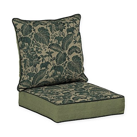 Basketweave Patio Chair (Casablanca Elephant Snap Dry, Reversible Deep Seat Chair Cushion in Green, Exotic Elegance Tropical Palm Fronds, Jacquard Basket-Weave and Solid Woven Fabric, Durable, Fade Resistant, 46.5