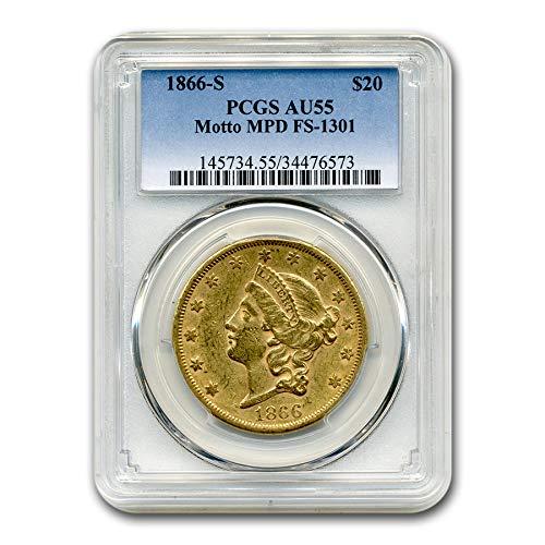 1866 S $20 Liberty Gold Double Eagle AU-55 PCGS (Motto MPD) G$20 AU-55 PCGS