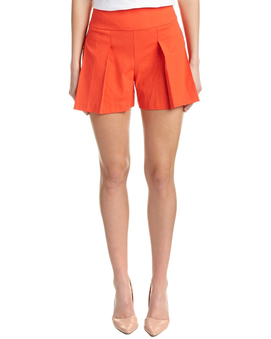 Nicole Miller Artelier Women's Stretch Linen High Waisted Shorts Orange Papaya (4)