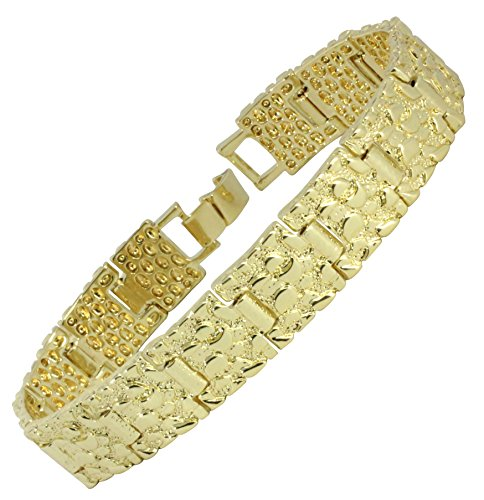 Classic Nugget Design 14kt Gold Tone 7mm 14mm or 24mm 8 inch Bracelet Bling (14)