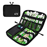Travel Universal Cable Organizer Bag Small Electronics Accessories Cases For Various USB,Cables, Earphone, Charger, Phone (Black & Green)