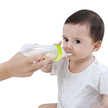 Food Dispensing Spoon Infant Silicone Feeding Spoon Feeder Food Cereal Bottle