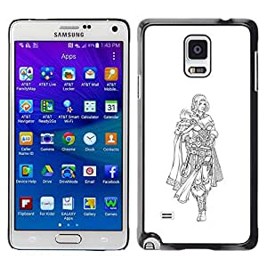 // PHONE CASE GIFT // Duro Estuche protector PC Cáscara Plástico Carcasa Funda Hard Protective Case for Samsung Galaxy Note 4 / Vikingo Princesa /