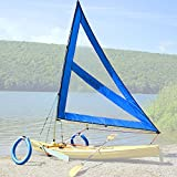Serenity Upwind Kayak Sail and Canoe Sail System (Blue). Complete with Telescoping Mast, Boom, Outriggers, Lee Boards, All Rigging Included! Compact, Portable, Easy to Set up - Start Sailing in the New Year!