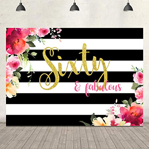 60th Birthday Backdrop for Pictures Sixty and Fabulous