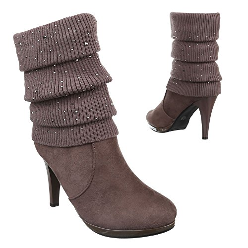Ital-Design Damen Schuhe, 0-66, Stiefeletten High Heels Braun