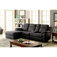 Furniture of America CM6771GY-CE Kamryn Gray Chaise Upholstered Sofas/Sectionals/Armchairs, 38.5' H