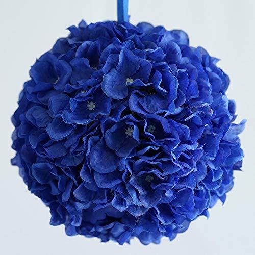 BalsaCircle 4 pcs 7-Inch Royal Blue Hydrangea Kissing Flower Balls - Artificial Flowers Wedding Centerpieces Arrangements Bouquets Supplies ()