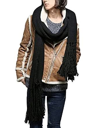 Promithi Winter Fashion Womens Men Warm Soft Knitted Wool Long Scarf Shawl Black
