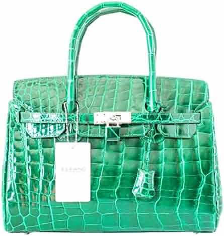 Authentic Elfano Crocodile Skin Womens Hobo Bag Purse Locked Glossy Sz.S  Handbag d959feb3c9b83