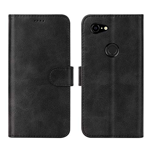(Feitenn Google Pixel 3A XL Case, Pixel 3A XL Case Leather, Wallet Flip Folio Cover Stand Card Slots PU Leather TPU Rubber Magnetic Closure Slim Bumper Shockproof Shell for Google Pixel 3A XL - Black)