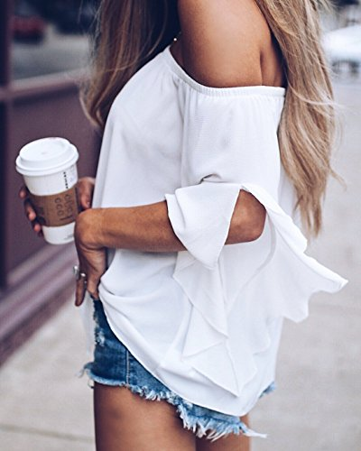 Chemisiers Blanc Bateau Tops Femme Couleur Haut Blouse Lache Col Casual 4 Shirt Manches t Unie T 3 TB80WW