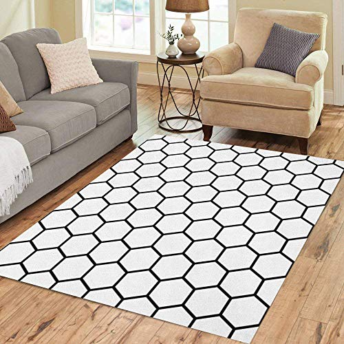 Pinbeam Area Rug Pattern Abstract Geometric Black and White Hipster Hexagon Home Decor Floor Rug 2' x 3' Carpet