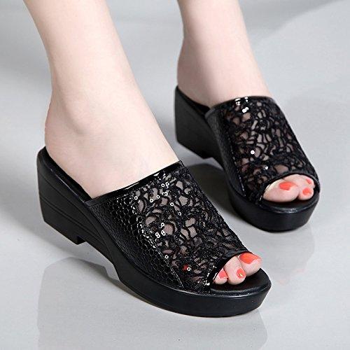 KHSKX-Das Neue Leder Schuhe Mit Dicken Flachen Boden Sandalen Tragen Rutschfeste Hausschuhe black