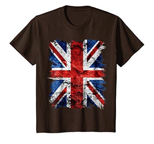 Brown Union Jack - Kids Cool Graphic Design Grunge Style British Flag T-Shirt 6 Brown