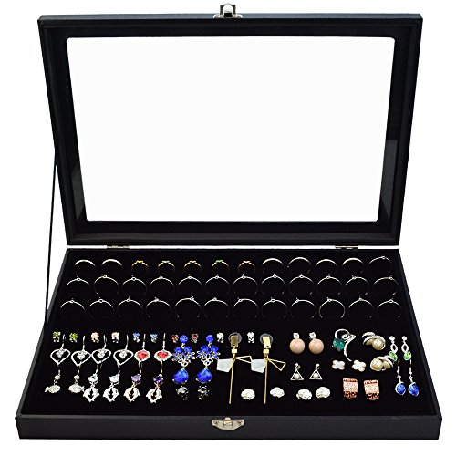 Jewelry Box 72 Black Trays (72 Slot Jewelry Ring Box Case Storage Tray Organizer for Jewelry Rings Earrings, Velvet Jewelry Display Storage Holder Tray Case Top Rings glass Display Showcase by cnomg Black)