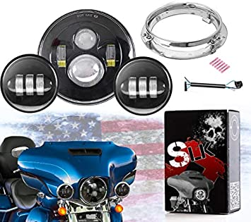 Road King LX-LIGHT 7 Inch Round Chrome Headlight Mounting Bracket for Harley Davidson Touring Street Glide Ultra Glide,Electra Glide